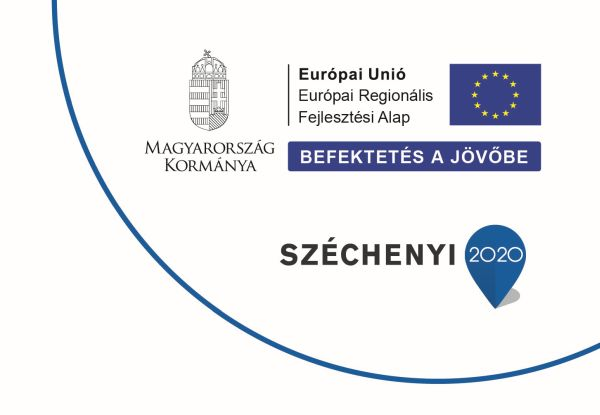 Széchenyi 2020 infoblokk, ami tartalmazza Magyarország kormányának logóját, a Széchenyi 2020 logót, valamint az Európai Unió zászlaját és a következő feliratot: Európai Unió Európai Regionális Fejlesztési Alap, Befektetés a jövőbe.
