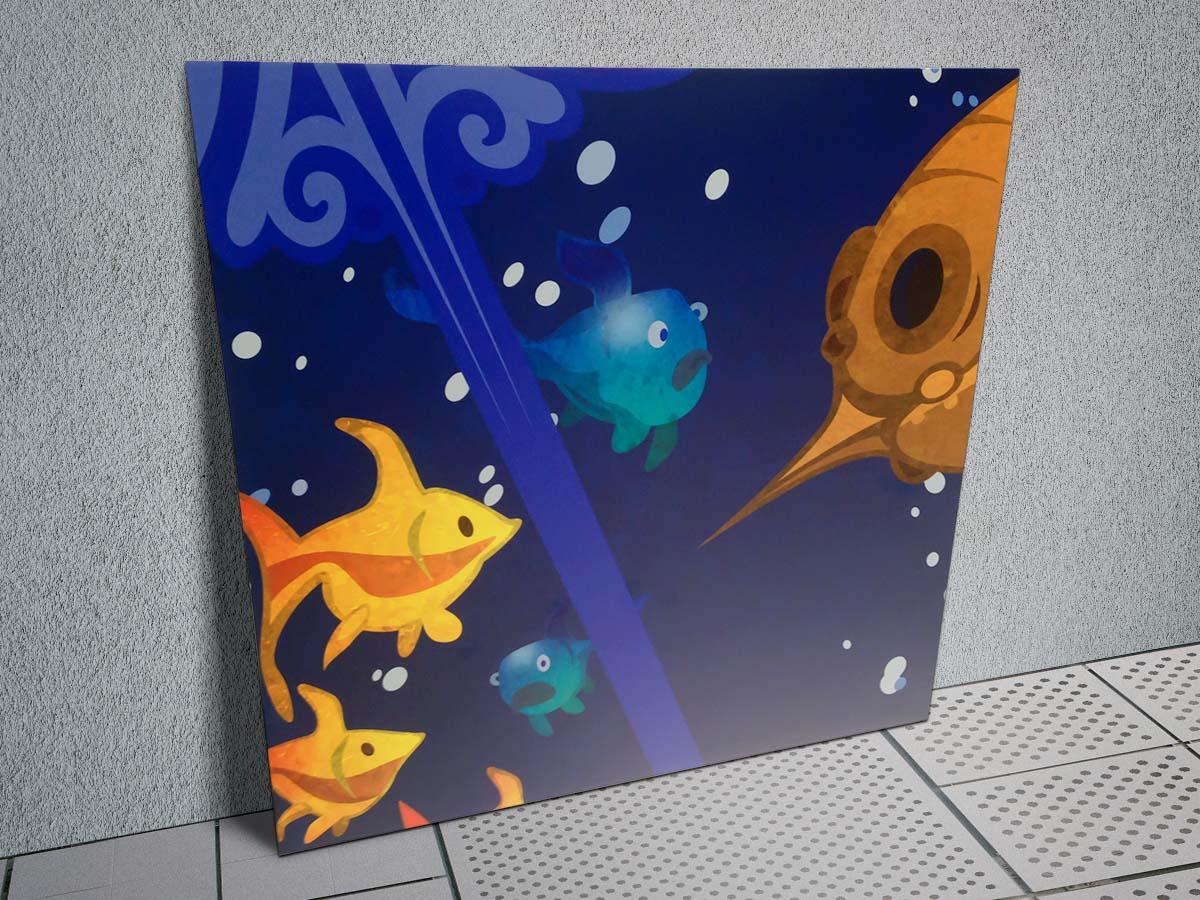 Mesekönyves hangulatú tengeri jelenet sárga és kék halakkal festővászonra nyomtatva.