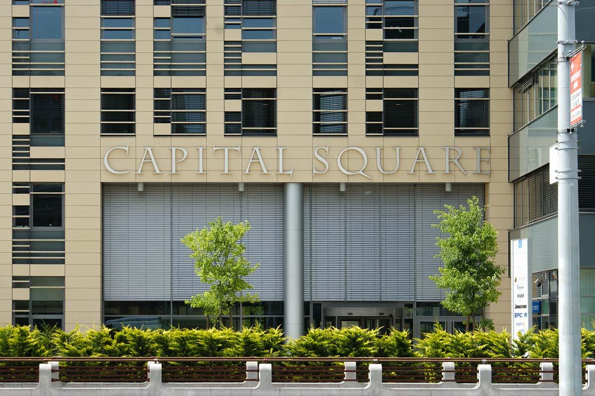 Capital Squere homlokzati dekoráció.