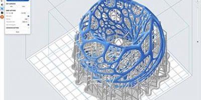 Egy designer lámpa alkatrészének 3D-s képe, miközben előkészítik prototípusnyomtatásra.